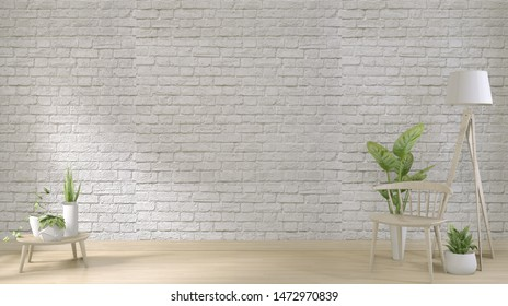 mock up white brick wall on floor wooden and decoration plants.3D rendering