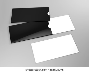 Mock up of white card with black holder