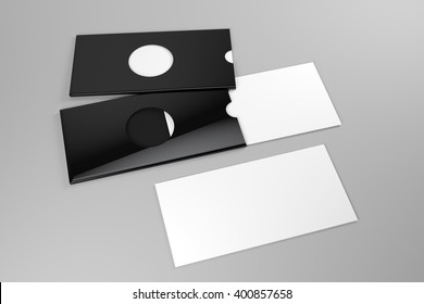 Mock up of white card and black holder with a die cut hole 3D illustration