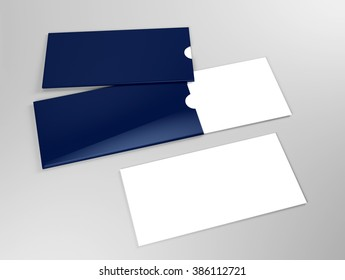 Mock up of white card with blue holder
