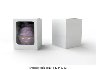 Mock up of white paper box with window and cake inside it, 3d illustration