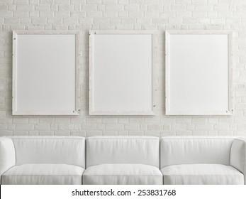 mock up white poster on brick wall, 3d illustration