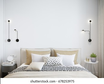 Mock up white wall bedroom interior. Scandinavian style interior. 3d rendering