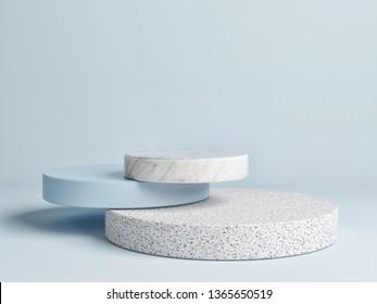 Mock up winner  podium,  abstract minimalism with blue background, 3d render, 3d illustration
