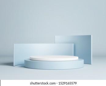 Mock up winner podium on blue background, 3d render, 3d illustration