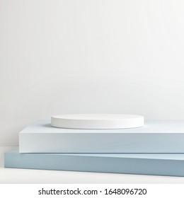 Mock up winner podium, Mock up studio for product presentation, blue background, 3d render, 3d illustration