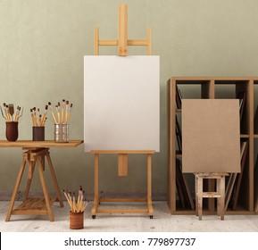 Mock up  in workshop with easel.3d illustration.3d render