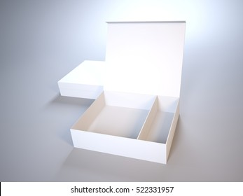 Mock-Up 3d open box on gray background