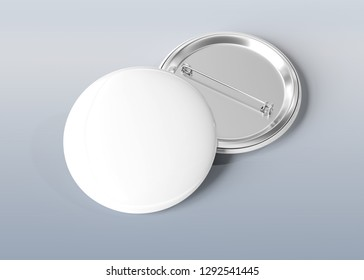 A mockup of a badge on blue grey background 3D rendering