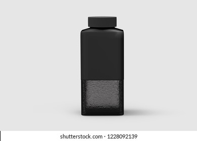 Mock-up Black glass Packaging Product For Milk, Soft Drink or Water Juice Bottle isolated on a soft gray background.3D illustration