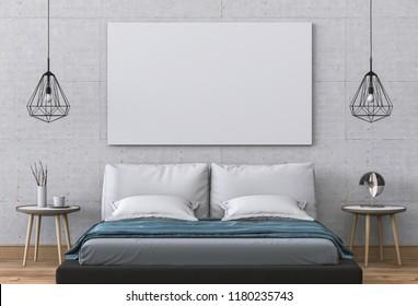 Mockup blank poster 3D rendering of interior bed room