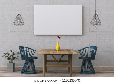 Mockup blank poster on a wall. interior modern room of Minimal style dining room. 3d render