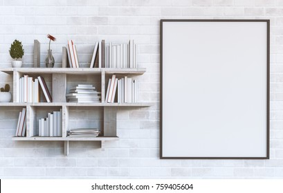 Mockup blank poster on a white brick wall with Shelves with books on painted white brick wall background. 3D rendering