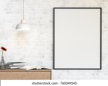 Mockup blank poster on a white brick wall with desk  and  books on painted white brick wall background. 3D rendering