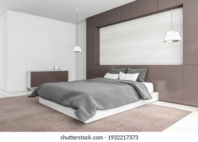 Mockup blank space above white bed with linens and pillows, carpet and white floor, side view. Beige bedroom with drawer and lamps, 3D rendering no people