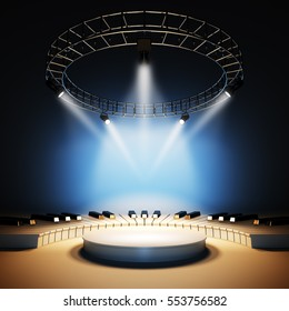 Mockup of blank template layout of white jazz or classic music stage illuminated by spotlights. 3d render illustration. Scene is empty to place your text, logo or object.