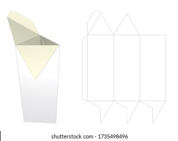 Mockup Blank White Packaging and Cut. Triangular Prism - Full Overlapping Closure - Full Overlapping Closure. 3D image