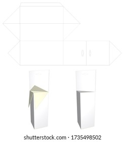 Mockup Blank White Packaging and Cut. Triangular Prism - Full Overlapping Closure - Full Overlapping Closure with Extended Panel. 3D image