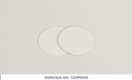 Mockup of blank white round beer coasters on white background. Branding template. 3D rendering illustration