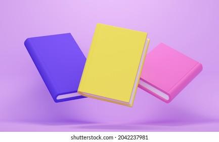 Carte de livres volants de couleurs vives sur fond lilas. Rendu 3d