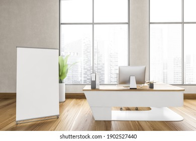 Mockup canvas board in wooden business office, table with computer. Business wooden minimalist consulting room with large window, 3D rendering no people