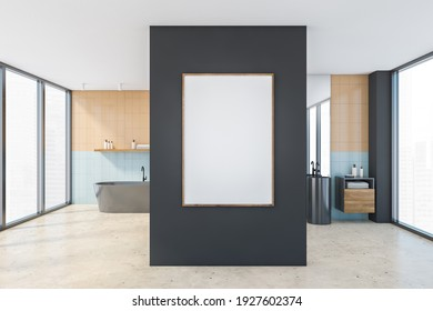 Mockup canvas frame in beige and blue bathroom with grey bathtub and two sinks with mirrors, drawers with brown towels. Beige marble floor and windows with city view, 3D rendering no people