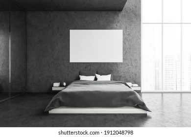 Mockup canvas frame in grey bedroom, bed with white pillows and grey linens, front view. Mirror wardrobe and grey wall, window with city view, 3D rendering no people