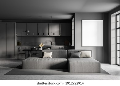 Mockup canvas frame in grey kitchen room with grey sofa, table and chairs. Furniture in dark grey minimalist room, 3D rendering no people