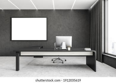 Mockup canvas frame in white and black business office room with minimalist furniture. Table with lamp and computer near window, 3D rendering no people