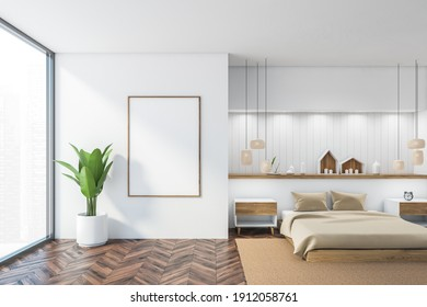 Mockup canvas frame in white and wooden sleeping room with bed and linens on carpet, parquet floor. Bedroom with decoration and plant, 3D rendering no people