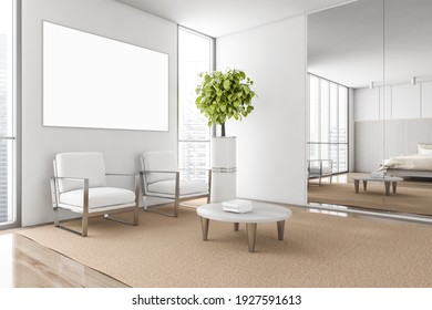 Mockup canvas poster and two white chairs on beige carpet, windows with city view, side view. Coffee table with books and plant, 3D rendering no people