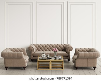 Mockup Classic Furniture in interior 3d rendering