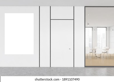 Mockup copy space canvas in white office conference room with white chairs and table. Meeting room with poster behind glass window in modern office, 3D rendering no people