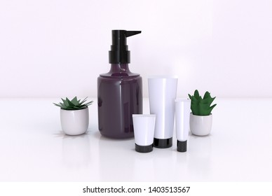Mock-up cosmetics SPA set on the soft light bathroom decor for advertising, design, set of cosmetic bottles, bath accessories, white small flowers in vase, mock up, top view, on white background. 3D
