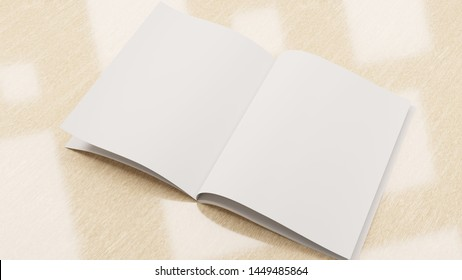 Mockup with an empty book with a background. Opened book with copy space. Template for advertisement. 3D rendering.
