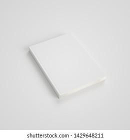 Mockup empty cover of white paper on light background. 3D Illustration.
