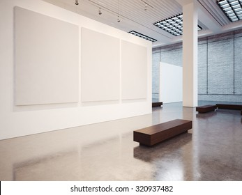 Mockup of empty gallery with bench. 3d render