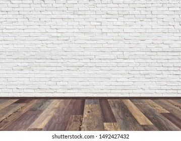 Mockup of empty living room with brown vintage oak wooden floor and old white painted brick wall. 3D rendering illustration of empty living space room for design interior.