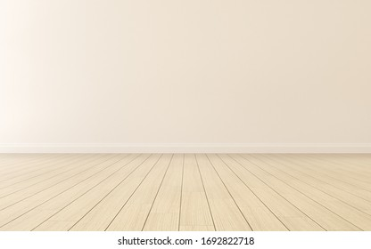Mock-up of empty room and wood laminate floor with sun light cast the shadow on the wall,Perspective of minimal interior design. 3D rendering