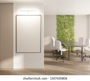 Mockup with an empty white poster on the office wall. Template for poster, art or advertisement. 3D rendering. 3D illustration.