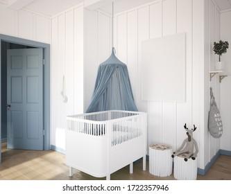 Mockup frame in children's bedroom, 3d render