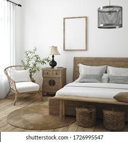 Mockup frame in bedroom interior background, Farmhouse style, 3d render
