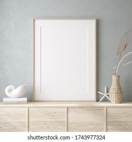 Mockup frame close up in coastal style home interior background, 3d render