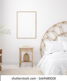 Mockup frame in Coastal boho style bedroom interior, 3d render