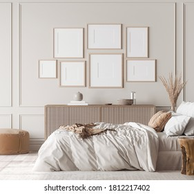 Mockup frame in contemporary bedroom design, gallery wall in bight home decor, 3d render, 3d illustration