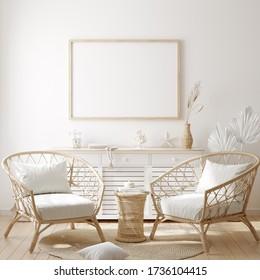 Mockup frame in cozy coastal style home interior, 3d render
