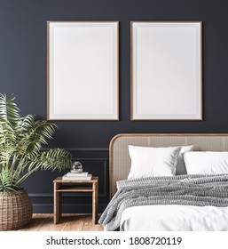 Mockup frame in dark bedroom interior, wooden rattan bed on empty dark wall background, Scandinavian style, 3d render, 3d illustration