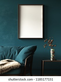 Mock-up frame in dark green home interior with sofa, fur, table and branch in vase, 3d render