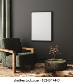 Mock-up frame in dark home interior with armchair and branch in vase, 3d render