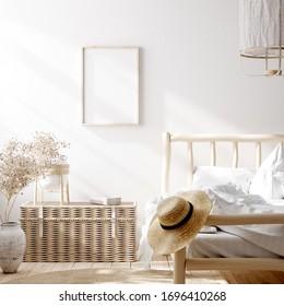 Mockup frame in farmhouse bedroom interior background, 3d render